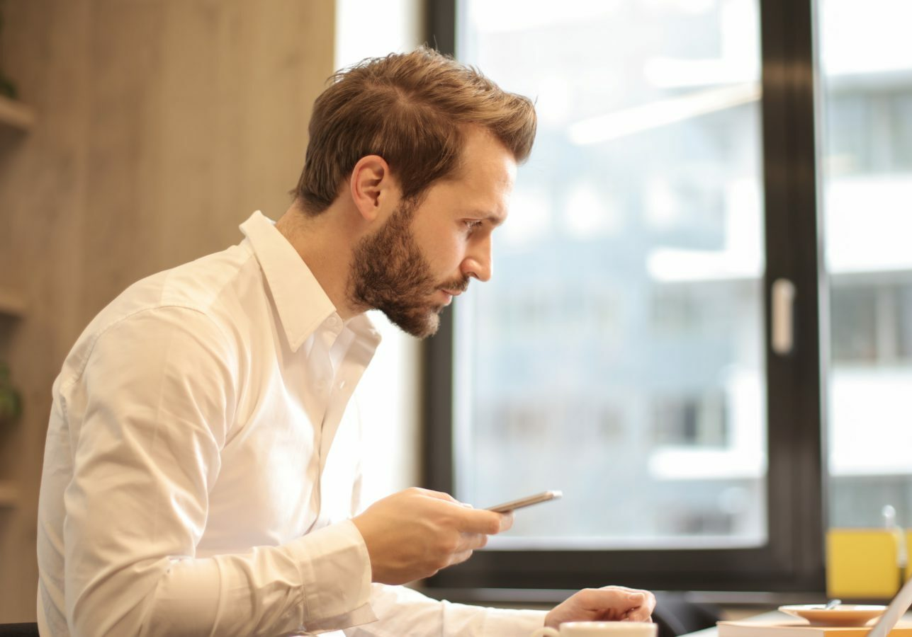 man concentrates at work